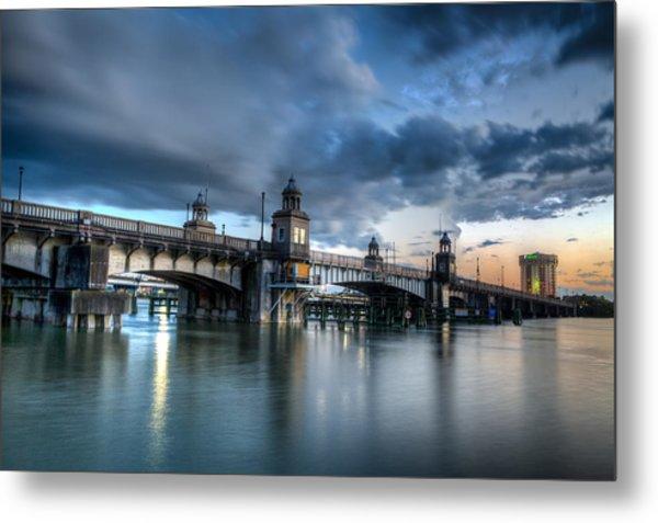 The Ashley River Memorial Bridge Metal Print by Walt  Baker
