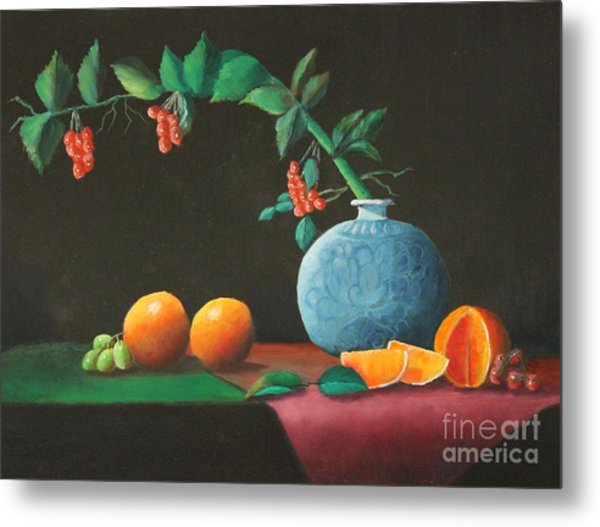 The Asian Vase And Oranges Metal Print