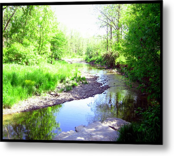 The Babbling Stream Metal Print