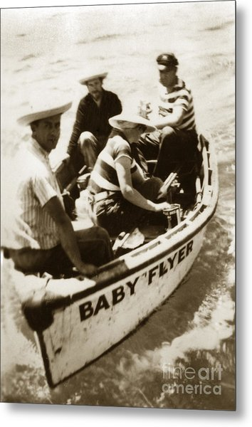 The Baby Flyer With Ed Ricketts And John Steinbeck  In Sea Of Cortez  1940 Metal Print