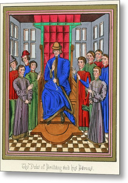 The Barons Of Bretagne Meet To Metal Print by Mary Evans Picture Library