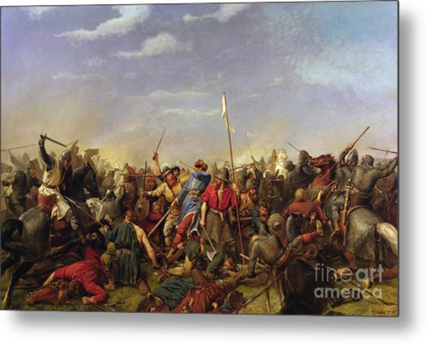 The Battle At Stamford Bridge Metal Print by Peder Nicolai Arbo