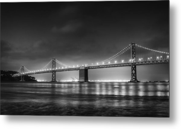The Bay Bridge Monochrome Metal Print