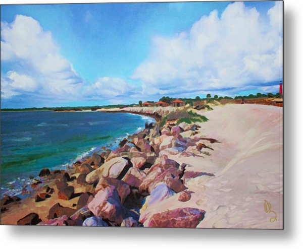 The Beach At Ponce Inlet Metal Print