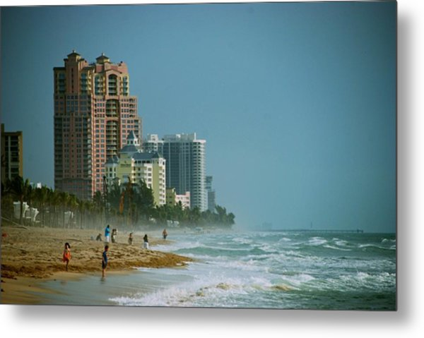 The Beach Near Fort Lauderdale Metal Print