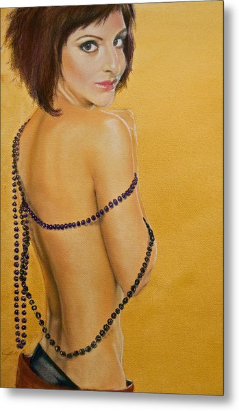 Metal Print featuring the painting The Beaded Shawl by Jani Freimann