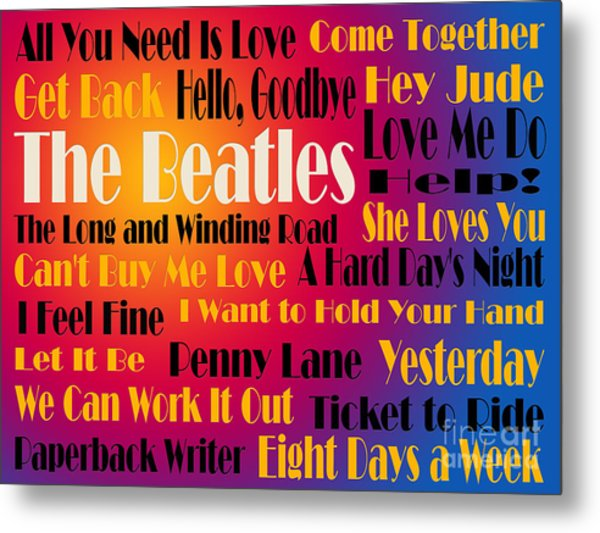 The Beatles 20 Classic Rock Songs 3 Metal Print