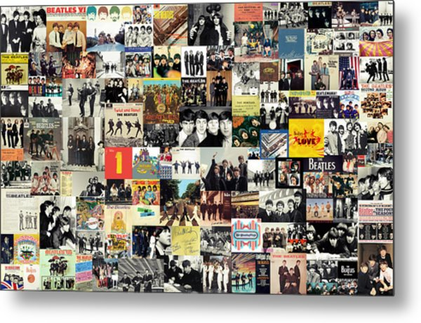 The Beatles Collage Metal Print