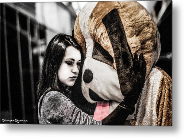 The Black Widow And The Teddy Bear Metal Print