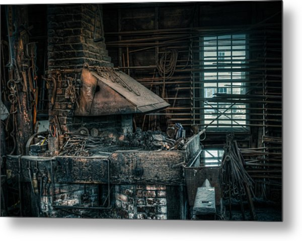 Metal Print featuring the photograph The Blacksmith's Forge - Industrial by Gary Heller