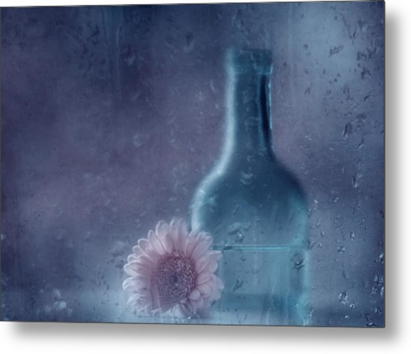 The Blue Bottle Metal Print by Delphine Devos