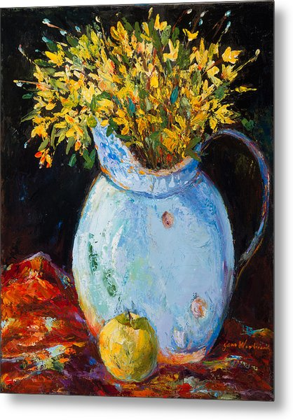 The Blue Clay Pot With Apple Metal Print by Jane Woodward