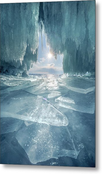 The Blue Ice Cave At Lake Baikal Metal Print by Coolbiere Photograph