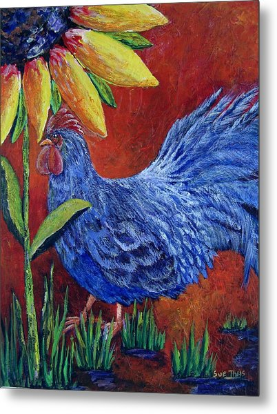 The Blue Rooster Metal Print