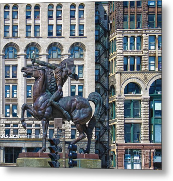 The Bowman - Chicago Indian Statue - 02 Metal Print by Gregory Dyer