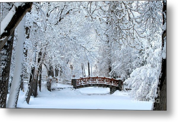 The Bridge In Winter Metal Print