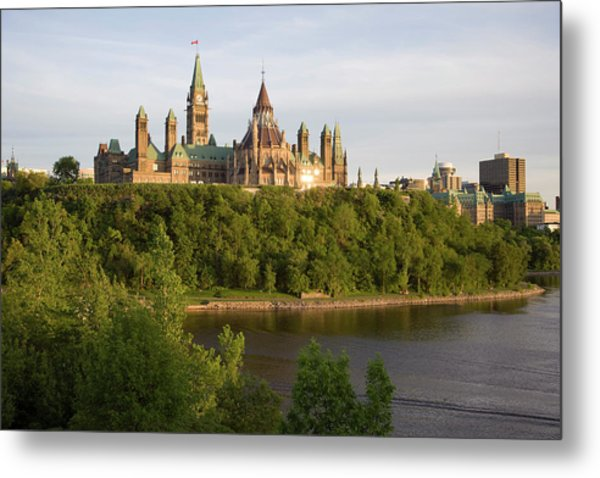 The Buildings Of Parliament Hill, Along Metal Print