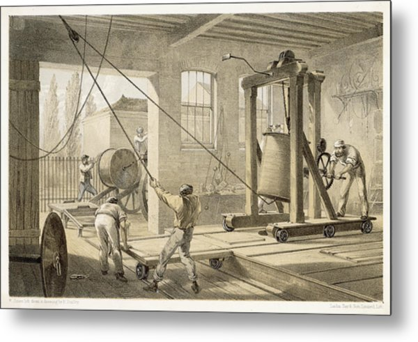 The Cable Is Brought To  Greenwich Metal Print by Mary Evans Picture Library