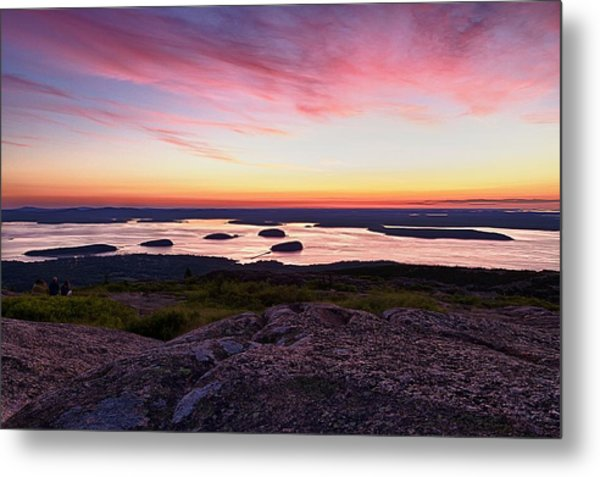 Metal Print featuring the photograph The Cadillac Mountain Sunrise Club by Jeff Sinon
