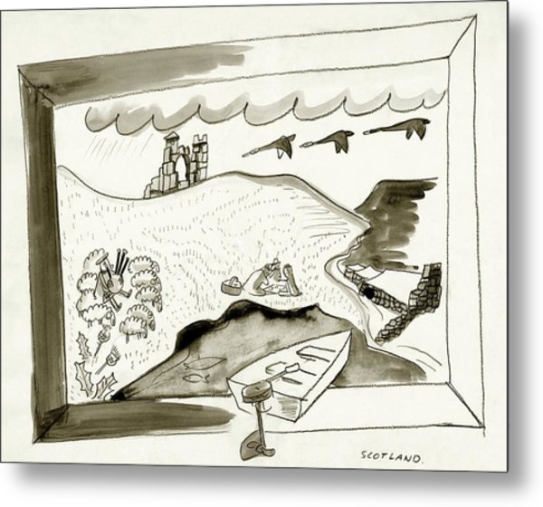 The Caledonian Canal In Scotland Metal Print by Ludwig Bemelmans