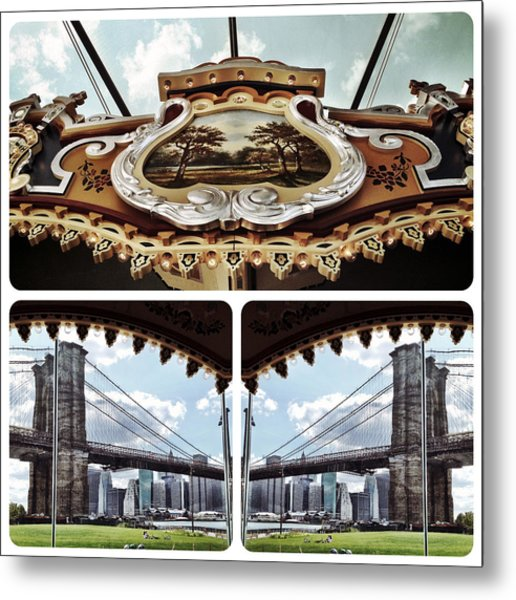 The Carousel And The Bridge Metal Print