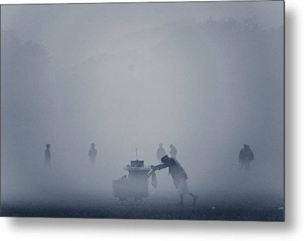 The Cart In The Fog Metal Print by Www.sayantanphotography.com