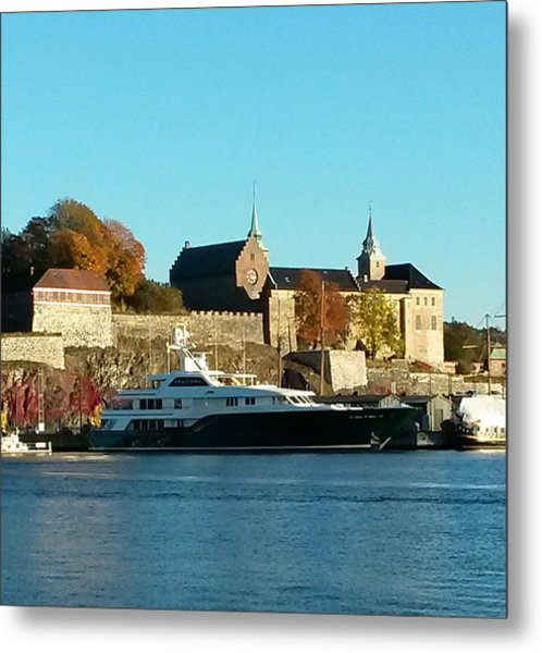 The Castle By The Waterfront Metal Print