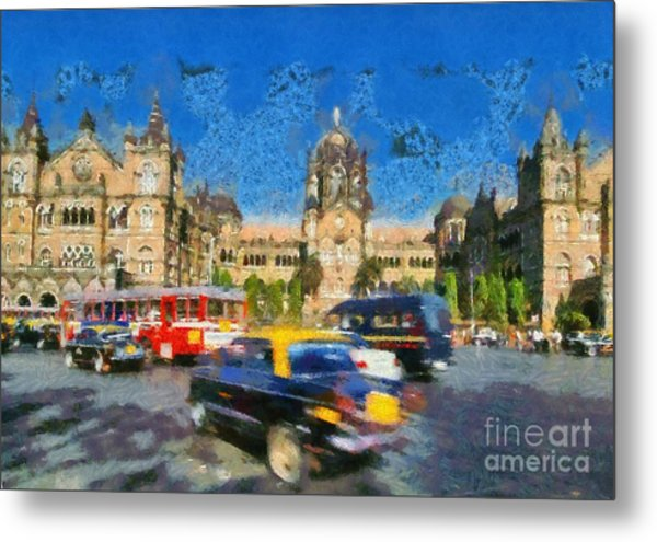The Chatrapathi Station In Mumbai Metal Print