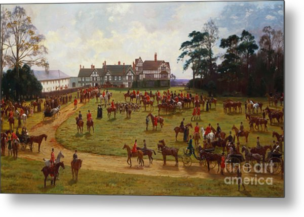 The Cheshire Hunt    The Meet At Calveley Hall  Metal Print