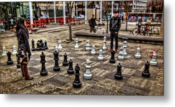 The Chess Match In Portland Metal Print