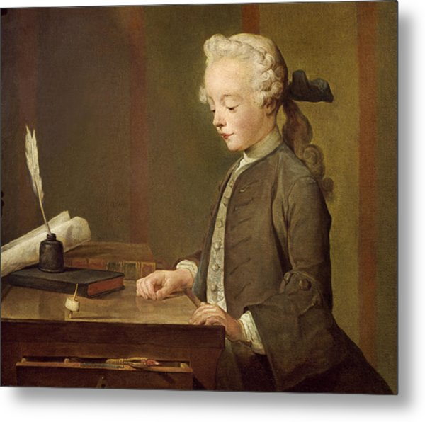 The Child With A Teetotum, Portrait Of Auguste-gabriel Godefroy 1728-1813 1741 Oil On Canvas Metal Print