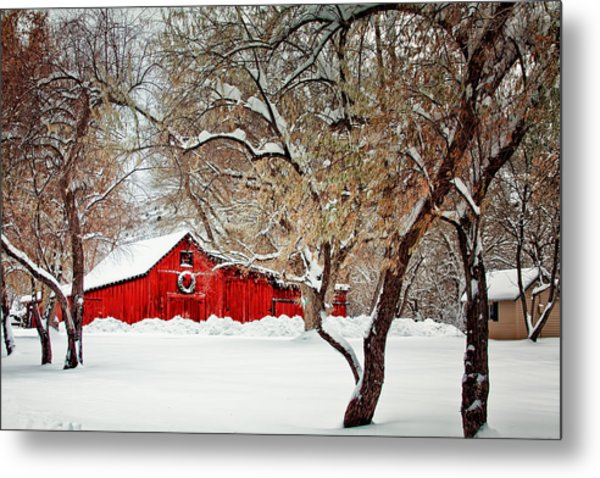 The Christmas Barn Metal Print