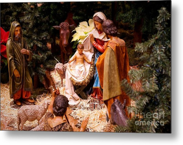 The Christmas Creche At Holy Name Cathedral - Chicago Metal Print