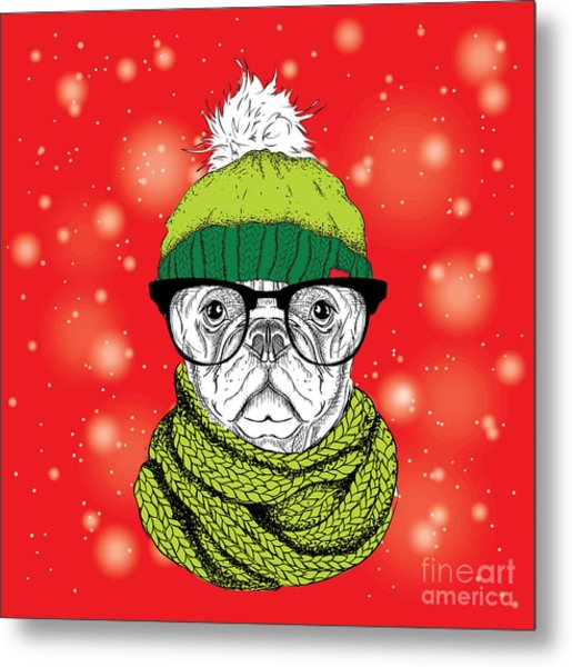The Christmas Poster With The Image Dog Metal Print by Sunny Whale
