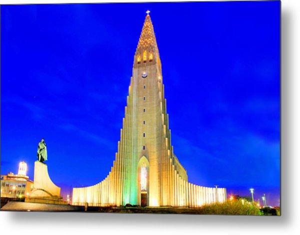 The Church Of Hallgrimur Reykjavik Metal Print