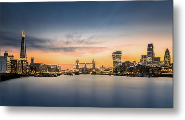 The City Of London In Sunset Scene Metal Print by Tangman Photography