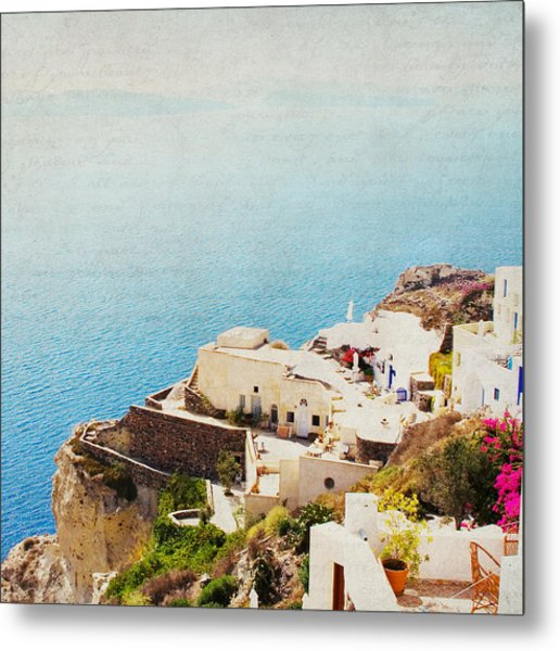The Cliffside - Santorini Metal Print