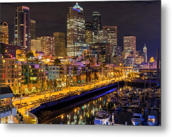 The Colors Of Night Lights In Seattle Metal Print