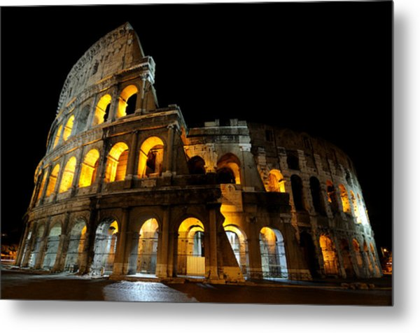 The Colosseum At Night Metal Print
