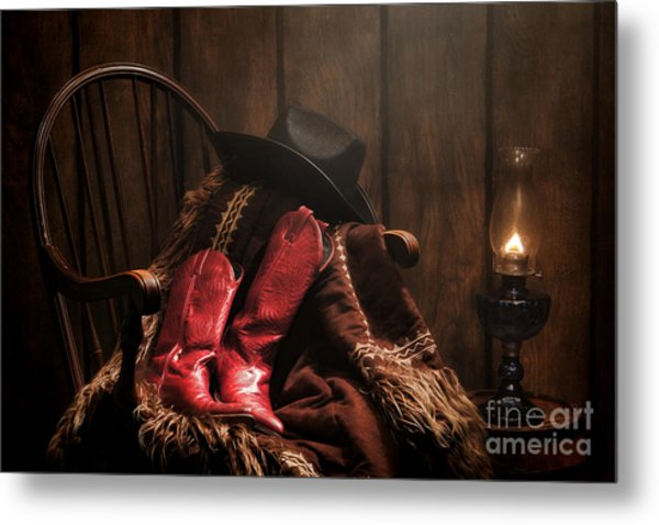 The Cowgirl Rest Metal Print