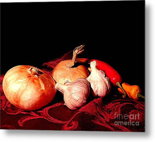 New Orleans Onions, Garlic, Red Chili Pepper Used In Creole Cooking A Still Life Metal Print
