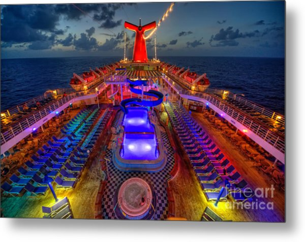 The Cruise Lights At Night Metal Print