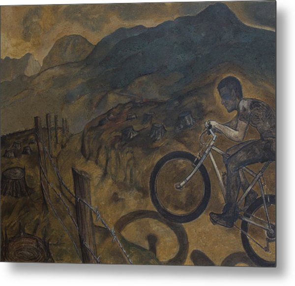 The Cyclist Metal Print by Fernando Alvarez