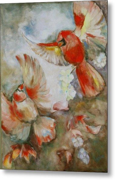 The Dance Of The Cardinals Metal Print by Susan Hanlon