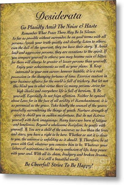 The Desiderata Poem On Antique Wallpaper Metal Print