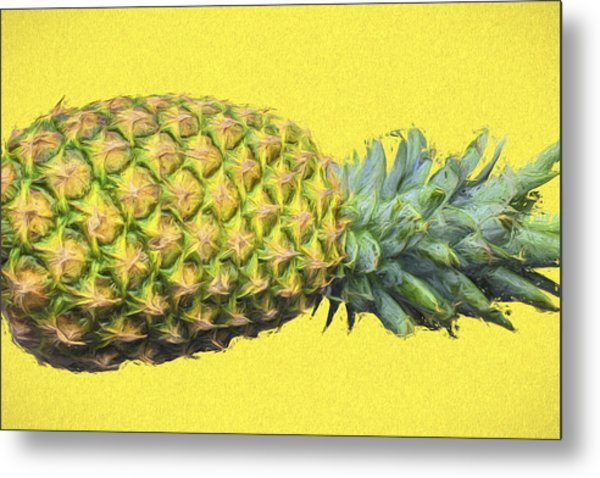 The Digitally Painted Pineapple Sideways Metal Print
