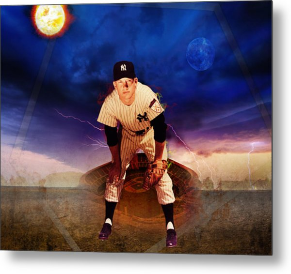 The Duality Of Mickey Mantle American Hero Metal Print