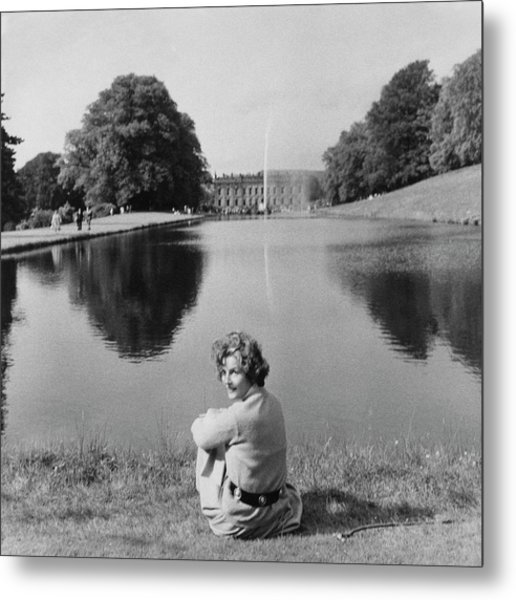 The Duchess Of Devonshire At Devonshire Palace Metal Print by Cecil Beaton