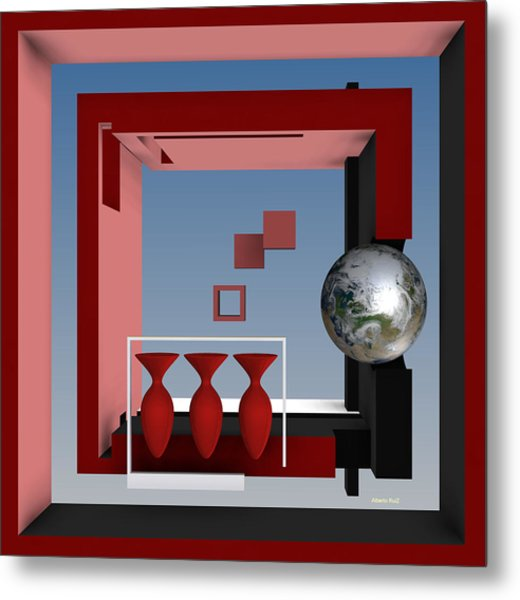 Metal Print featuring the digital art The Earth And Three Red Vases by Alberto  RuiZ