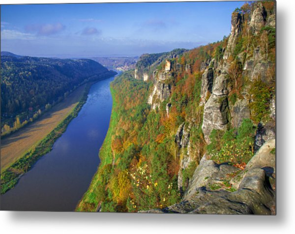 The Elbe Sandstone Mountains Along The Elbe River Metal Print